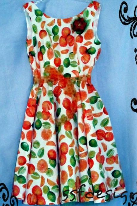 Vintage fabric retro style dress in limes ,oranges and lemons. OH MY...