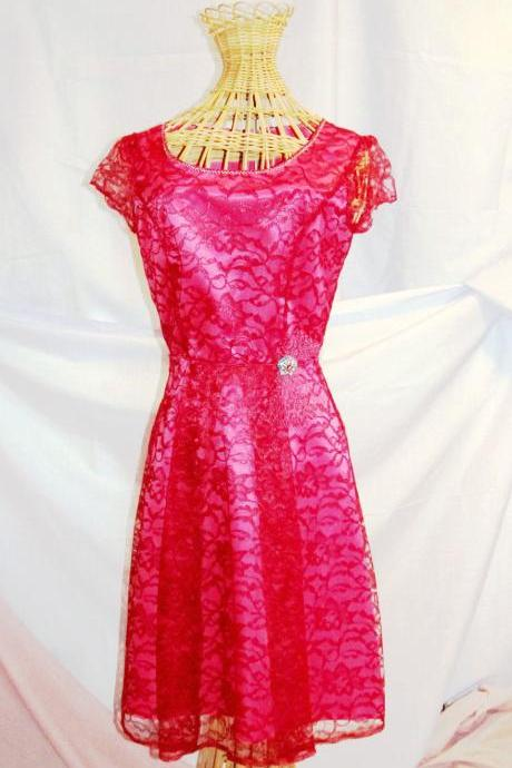 Vintage Style Womens Lace Cocktail Dress with Cap Sleeves, Bright Pink Satin Dress, Burgundy Lace, Retro Fashion Party Dress, Size 5 or 6