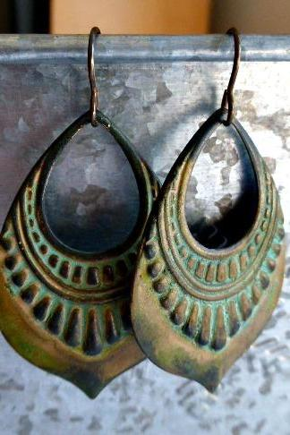verdigris patina earrings, green hoops, bronze jewelry french ear wire