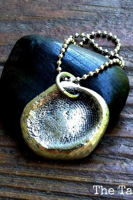 Custom Fingerprint Pendant Necklace in Pewter