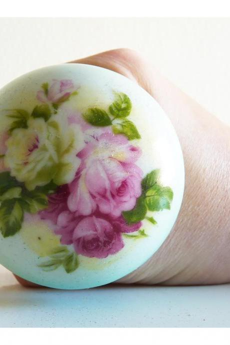 English rose vintage porcelain door knob.