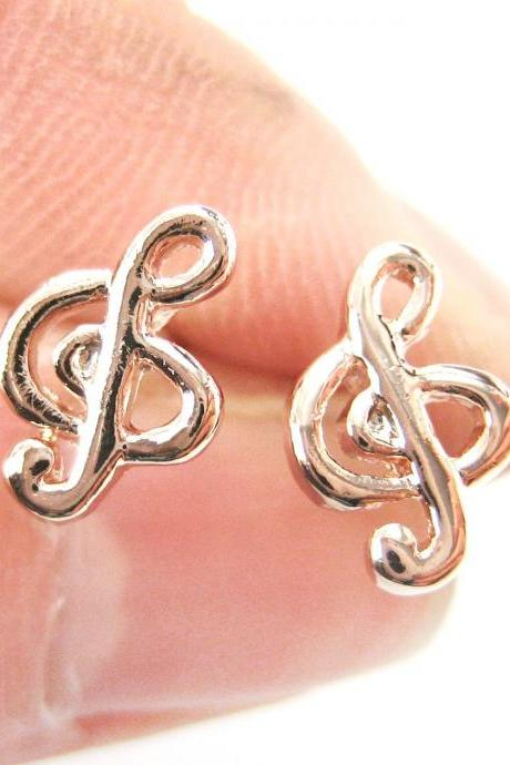 Treble Clef Musical Note Shaped Stud Earrings in Rose Gold
