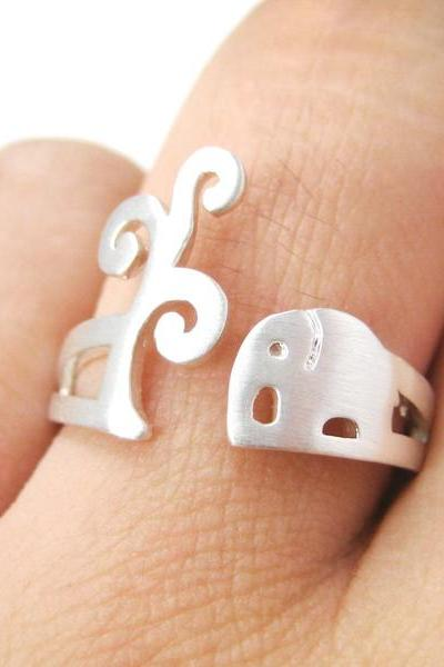 Simple Elephant and Tree Animal Shaped Ring in Silver Sizes 5 to 8 US