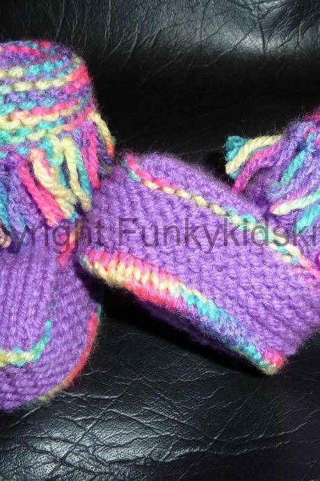 Hand Knitted Funky Baby Booties