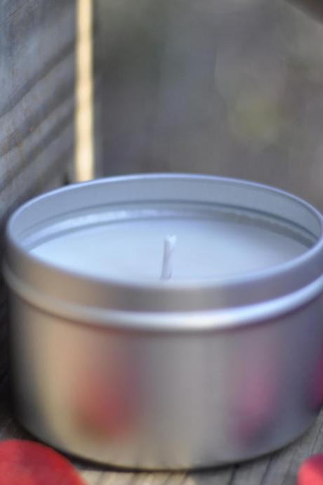 Vanilla Sandalwood Soy Candle 8oz Travel Tin, masculine, boyfriend in a can