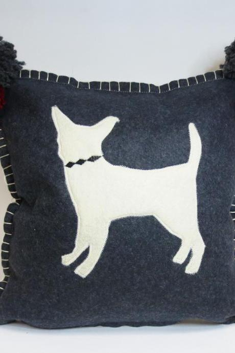 Gray Felt Pillow with Ivory Chihuahua Silhouette and Red Accents