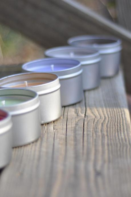 Pick 6 Scented Soy Candle 8oz Travel Tin Perfect bridesmaids/groomsmen gift. Save on shipping.