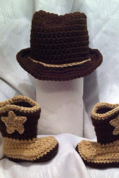 Infant Baby Boy Girl Brown Tan Cowboy Boots and Hat