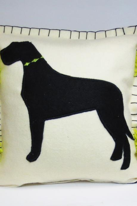 Ivory Felt Silhouette Great Dane Dog Pillow with Bright Green Accents
