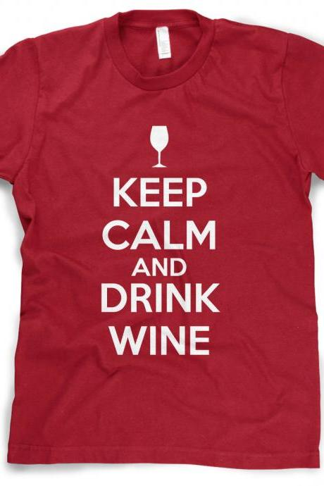 Keep Calm and Drink Wine t shirt funny drinking shirt S-4XL