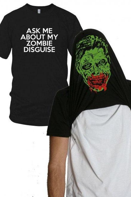 Zombie disguise shirt funny zombie shirt S-4XL