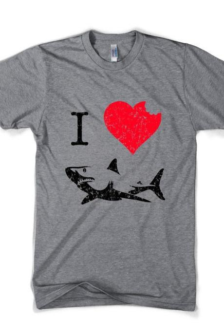 I Love Sharks t shirt funny shark bite shirt S-4XL