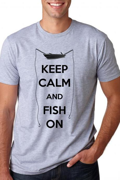 Keep Calm and Fish shirt funny t shirt S-3XL