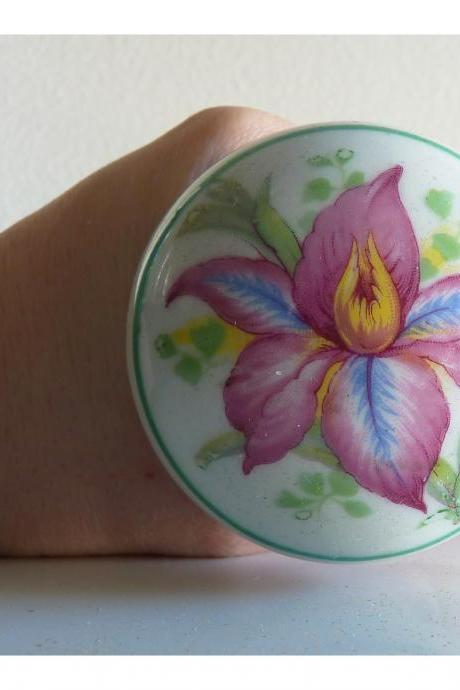 Orchid flower porcelain door knob