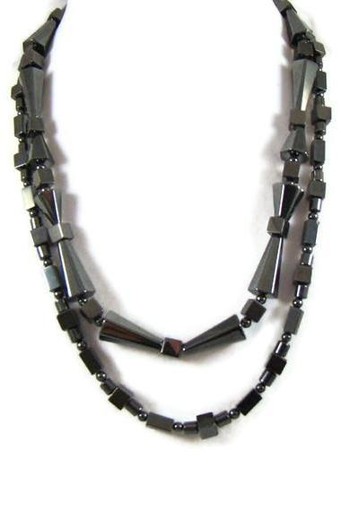 Necklace, Beaded Necklace with Two Metallic Silver Hematite Strands