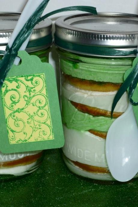 Pistachio Flavored Cake in a Jar Set of 2 Saint Patricks Day Celtic Irish