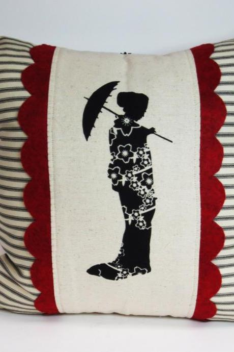 Decorative Throw Pillow Cushion Cover with Japanese Geisha Screen Print and Red Hand Cut Felt Scallop Trim
