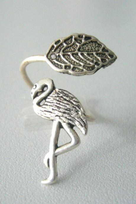 Silver flamingo ring with a leaf wrap ring, adjustable ring, animal ring