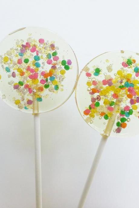 Celebration Lollipops, Hard Candy Lollipops, Party Favors, Candy, Sparkly Candy, Sweet Caroline Confections-SIX LARGE LOLLIPOPS