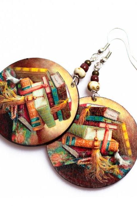 Book Earrings - decoupage - brown - double faced