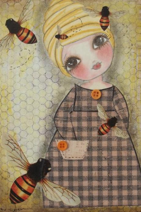 She has a BEE in her BONNET 5x7 ART CARD