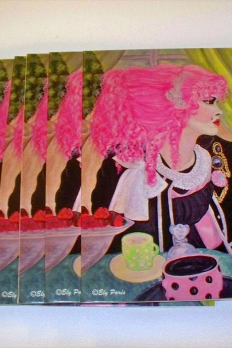 Pink Hair set of 5 note cards and envelopes