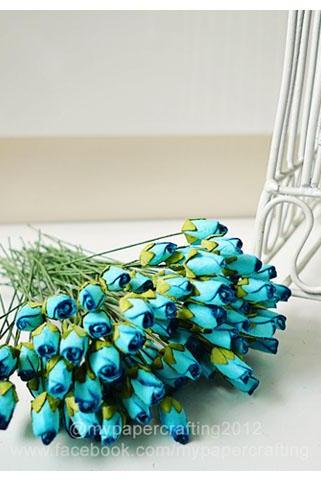 10 Mulberry mini paper Rose Buds flower blue / pack