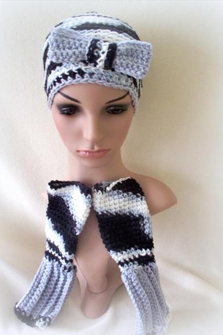Shades of Gray Crochet hat and fingerless gloves