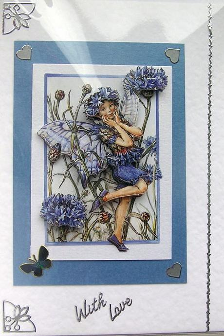 Cornflower Fairy Hand-Crafted 3D Decoupage Card - With Love (1448)