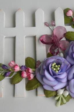 Handmade Paper Flower Spray - Wooden Picket Fence - Butterfly Purple - OOAK
