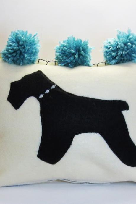 Ivory Felt Silhouette Schnauzer Pillow with Aqua Blue Accents