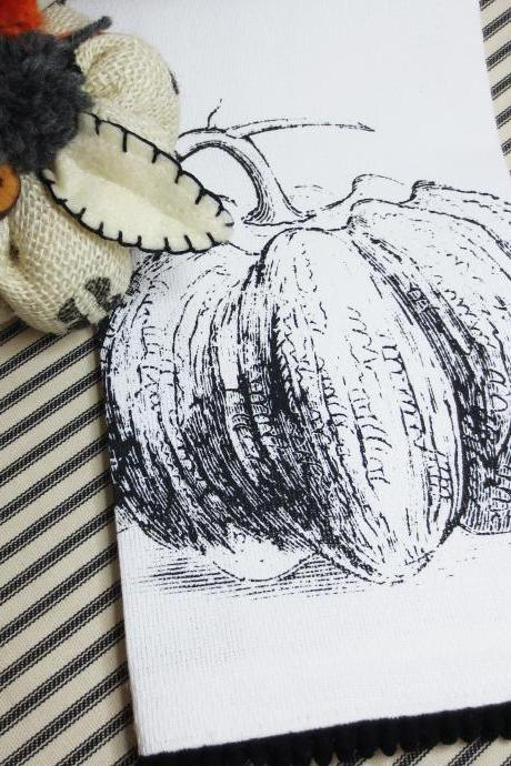 White kitchen towel or tea towel with pumpkin squash screen print