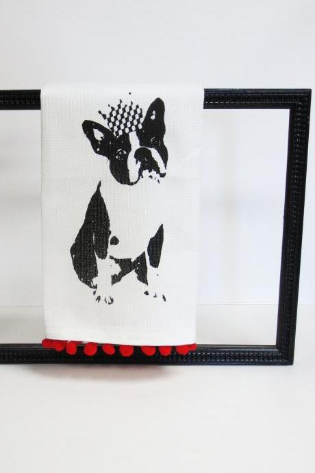White kitchen towel or tea towel with boston terrier screen print