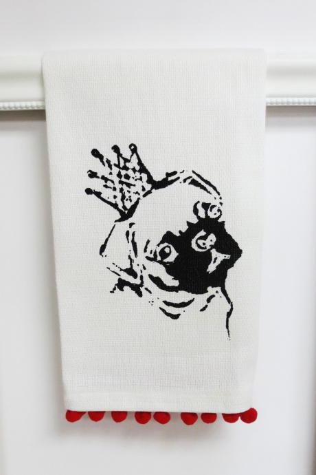 White kitchen towel or tea towel with pug screen print