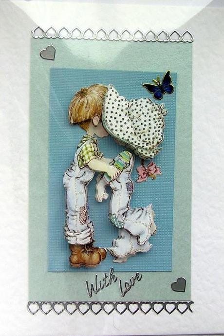 First Kiss Hand-Crafted 3D Decoupage Card - With Love (1456)