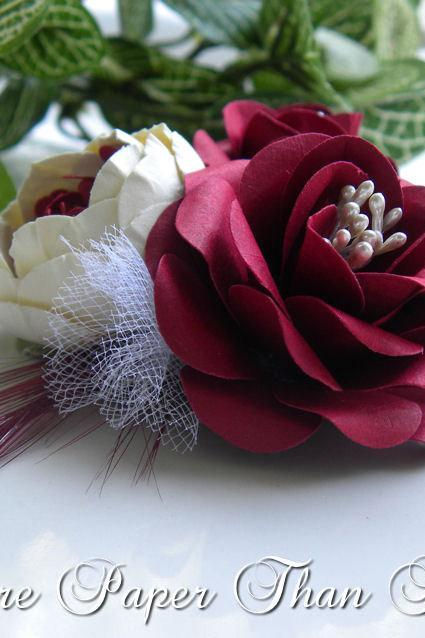 Hand Sculpted Paper Flowers - Red & Cream - Custom Order Available - Flower Cluster