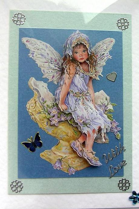 Fairy Hand-Crafted 3D Decoupage Card - With Love (1457)