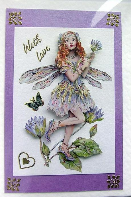 Fairy Hand-Crafted 3D Decoupage Card - With Love (1459)