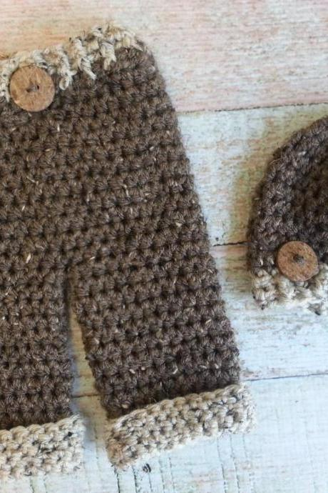 Tweed crochet beanie and pants set/photo prop