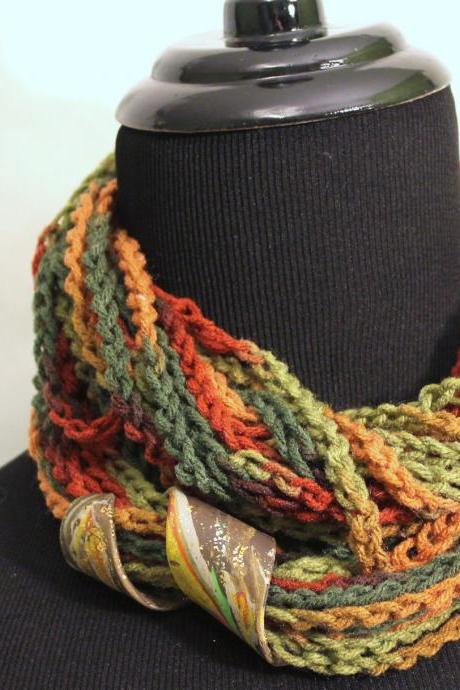 Spice Colors Infinity Scarf, Neck Wrap can be Worn 3 Ways, Polymer Clay Jewelry Clasp