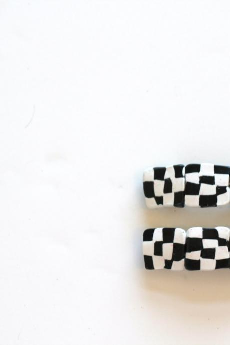 Checkerboard Baby Barrette, retro, 1960's, Hair Clip, Hair Barrette, Hair Trends,Hair clip, Polymer Clay