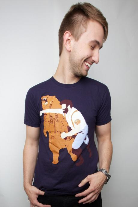 Man Punching Grizzly Bear American Apparel Navy S M L XL 2XL