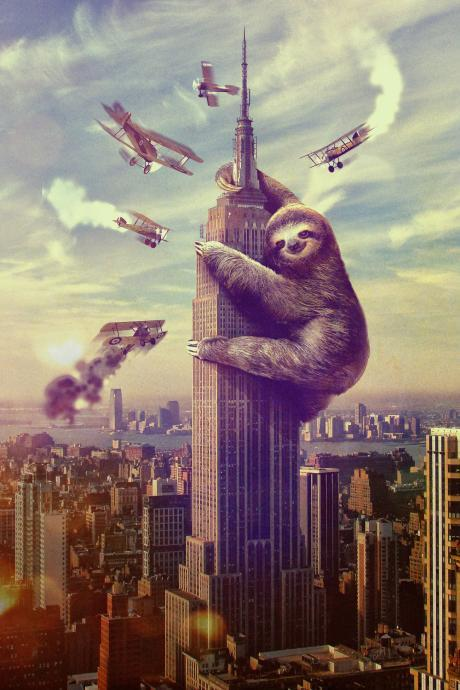 Wall Art, Sloth, Slothzilla, Empire State Building Print 18x24 Print