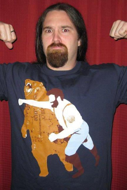 tshirt, tee, Man Punching Bear Men's t-shirt, sizes S-2XL available