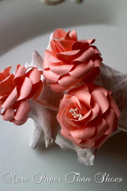 Handmade Paper Roses Stems - DIY - Bouquets - Wedding- Home Decor - Customize