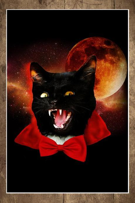 Cat art, Cat print, cat poster, dracula, Space, Art Print, Illustration, Catula, 18 x 24