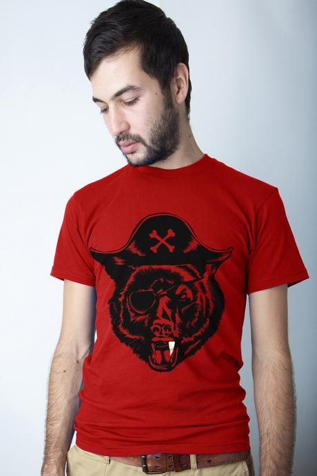Pirate tee, Black Beard, Bear t-shirt, Red, Sizes S, M, XL Available