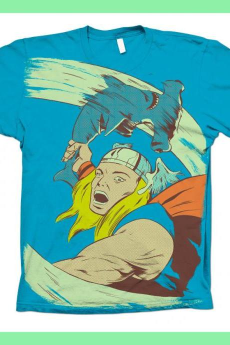 Thor, Shark, Hammer Time, Available S M L XL 100% Cotton