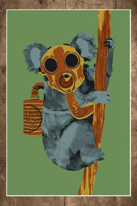 Wall Art, Koala, Dr. Who, Gas Mask, Tree, Branch, Doomsday Prepper, End of the World, Art Print, 18 x 24
