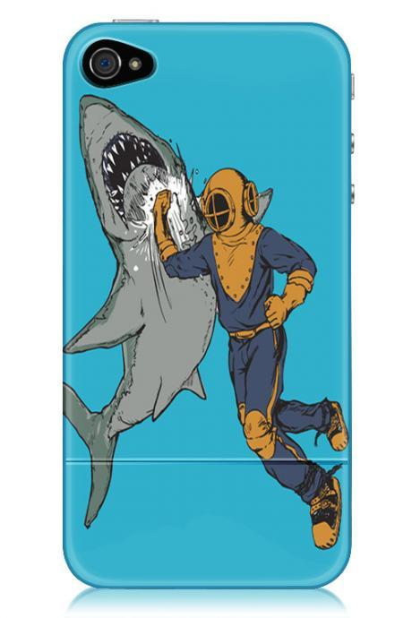 Shark, Diver Punching Shark, iPhone Case for iPhone 4 and 4S